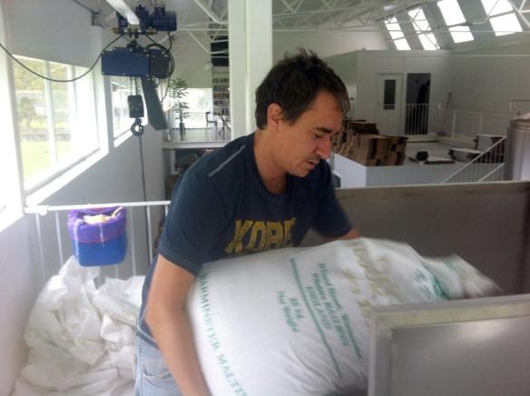 Volcando los sacos de malta para la elaboración de cerveza artesana en DouGall's